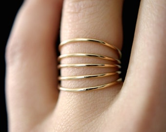 Connected Gold Stacking rings, Set of 5, 14k gold fill ring set, thin gold stacking rings, gold stacking ring set, gold stacking rings