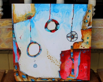 """New collection Zen Painting abstract patriotic colors """"And So It Swings""""  12 x 12 original by Jodi Ohl"""