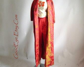 Vintage Kimono Coat Matching Pants 2-pc mAXI / small size  4 6 8 Silk Robe/  50s HOLLYWOOD Hostess  Brocade/ DYNESTY Hong Kong BBC