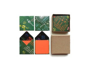 Airport Signs Stationery Set, Green Envelopes, Orange Note Cards, Small, Square, Folded, Cute, Gift Tags, Greeting, Thank You, Under 10