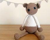 Brown White Teddy Bear, Knitted Teddy Bear, Handmade Crochet Teddy Bear, Baby Gift, Baby Shower Gift, Newborn Gift, Unisex Baby Gift - TOBI