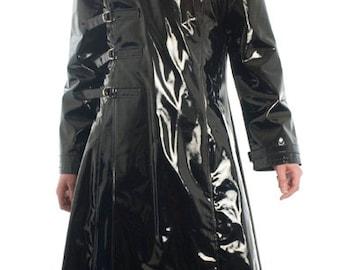 The Cenobite Men's PVC Buckle Coat Vinyl Goth Fetish Fantasy Costume Hellraiser gothic
