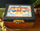 Halloween decoration decoupage bat vintage style postcard art trinket jewelry keepsake box old fashioned home decor