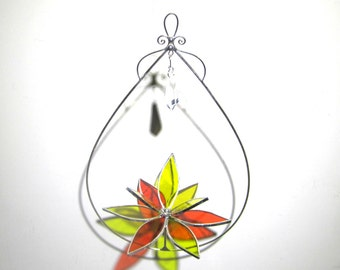 Charismatic - 3D Stained Glass Lotus Spinner - Yellow Orange Spinning Flower Suncatcher Ornament Home Garden Decor Crystal (READY TO SHIP)