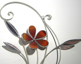 Sunset Bloom - 3D Stained Glass Wall Accent - Abstract Wire Flower Leaves Wire Home Decor Wall Hanging Suncatcher Whimsical (READY TO SHIP)
