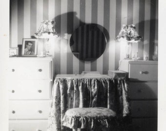 vintage photo 1950s Mirror on Wall Stripe Reflection ARTY abstract dressing table