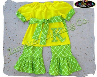 Custom Boutique Clothing Girl Lemon Lime Outfit Pant Set Green Yellow Ruffle Baby Toddler Infant 3 6 9 12 18 24 month size 2 3 4 5 6 7 8 T