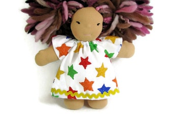8 inch Chubby Waldorf Doll Clothes, 8 in bright stars doll dress, small doll clothing, cotton doll dress, optional bloomers