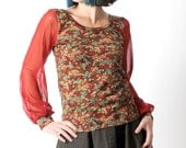 Red floral top, Red and green womens top, Vintage floral print top with sheer red mesh sleeves, Your size