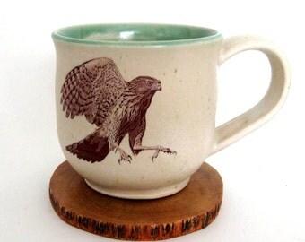 Stoneware Mug - Cooper's Hawk - 14 oz - Ready to Ship - Wheel Thrown Stoneware Pottery