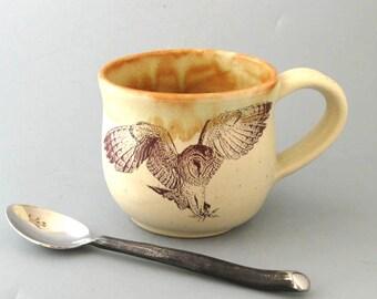 Coffee Mug - Large Mug - Pottery Mug - Ceramic Mug - Barn Owl -16 oz - Wheel Thrown Pottery