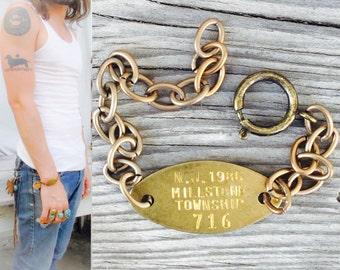 Vintage Metal dog tag Bracelet. Chunky wide brass ox chain Unisex jewelry.  wholesale  pricing.  mens fashion. bulk options.  b18