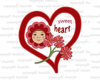 Heart with flower,  Clipart Single, commercial use, Love / Sweetheart Clipart / Digital Clipart , Heart clipart, love clipart, heart,