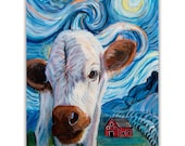 Baby Cow Original Painting Van Gogh Starry Night Art on Canvas 11x14x1 3/8, ready to hang