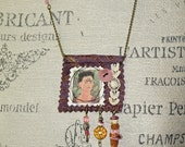 Mixed Media Frida Kahlo Boho Art  Unique Amulet Necklace Thinking About Death