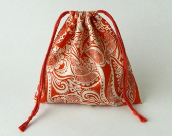 Orange Tribe Patterns Drawstring Bag, children crayons storage bag, fabric storage bag, reusable fabric bag, Eco-friendly fabric bag