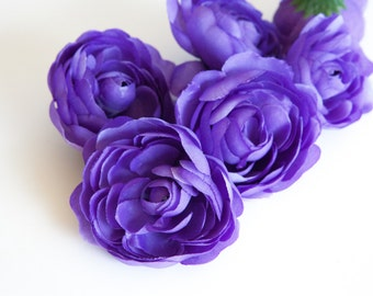 6 Small Ranunculus in Purple - 3 inches -artificial flower - Silk Artificial Flowers - ITEM 0668