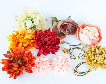 Grab Bag no. 23 --  12 Orange, Yellow and Brown Tones Small to Large Artificial Silk Flowers - Silk Artificial Flowers