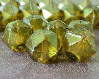 Olivine 13mm Czech Glass Bead English Cut Nugget : 6 pc Faceted Green Czech Nugget Bead