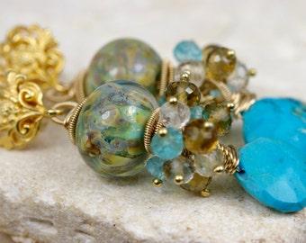 Lampwork Earrings - Cluster Earrings - Gemstone Earrings - Wire Wrapped Earrings - Dangle Earrings - Post Earrings - Turquoise Earrings