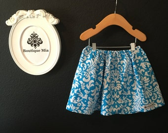 READY to MAIL - Children Skirt - Blue Damask - Will fit Size 12-24 month up to 2T - by Boutique Mia