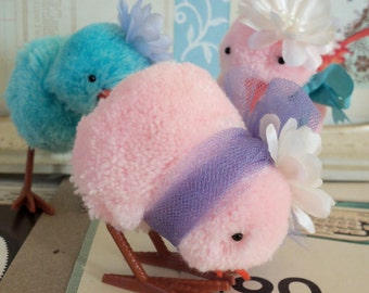 Vintage Style / Pink Pom Poms Chicks / Made with Old Stock Craft Materials / Three Items