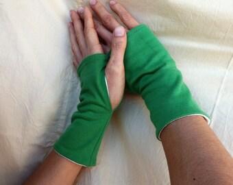 """Fingerless mittens """"green"""" jersey"""