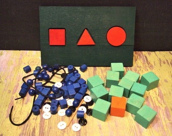Free Shipping Lot of wooden cubes, beads and game pieces assemblage jewelry