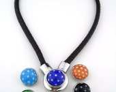 Interchangeable snap charm chunk popper polka dot jewelry leather magnetic necklace