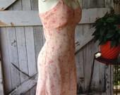 On sale 1940s slip floral slip 40s slip peach slip dress size x-small Vintage lingerie 1940s lingerie