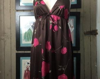 1960s nightgown vintage nightie size medium Lorraine nightgown floral nightgown vintage pjs 60s lingerie pink and brown
