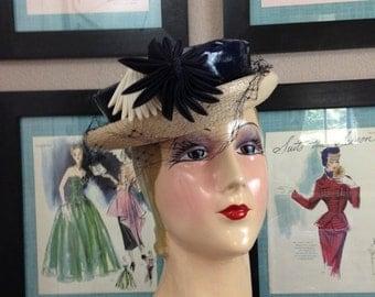 Fall sale 1940s hat navy blue hat patent leather hat 40s hat derby hat Vintage hat Austelle hat