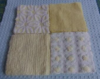"""20 Cotton Vintage Chenille Bedspread 6"""" Squares Cotton Chenille Bedspread  sewbuzyb"""