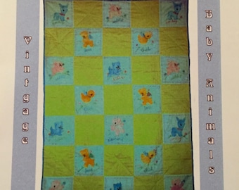 SALE - Vintage Baby Animals Quilt Pattern - From Kinnikinnick Designs - 4.00 Dollars
