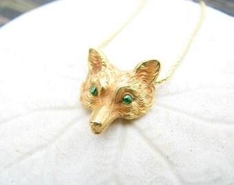 Stunning Antique Fox Pendant Necklace, Fabulous Detail, Green Garnet Eyes, Solid 14K Gold, on Elegant Chain