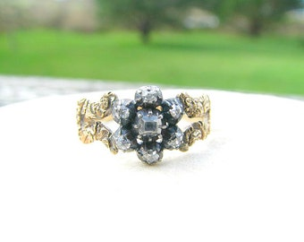 Antique Georgian Diamond Daisy Ring, Table Cut and Old Mine Cut Diamonds, Fancy Shoulders with Floral Design, Solid Gold and Silver