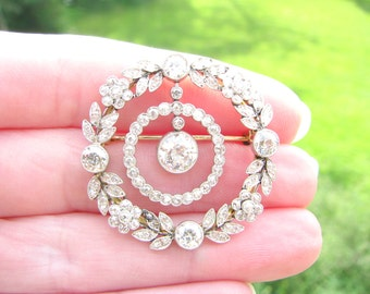 Exquisite Edwardian Diamond Brooch or Pendant, 4.11 ctw, Old European and Old Mine Cut Diamonds, Flower and Leaf Design with Dangling Halo