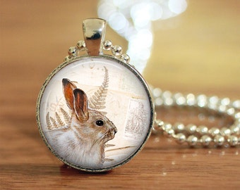 Bunny Pendant, Bunny Necklace, Bunny Jewelry, White Rabbit, Woodland Rabbit, Rabbit Pendant, Gift for her, Art Photo Pendant
