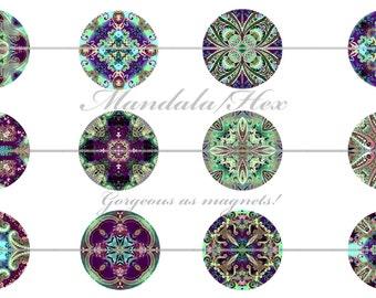 Purple Zen Magnets, Purple Hex Magnets, Purple Mandala Magnets, Mandala Pins, Zen Pins, Zen Flatbacks, Zen Magnets, Mandala Flatbacks