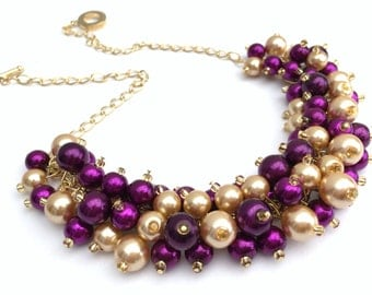 Magenta and Gold Pearl Beaded Necklace, Purple Bridesmaid Necklace, Purple Necklace, Cluster Necklace, Bridesmaid Gift, Custom Wedding Theme
