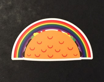 Rainbow Taco vinyl sticker 3""