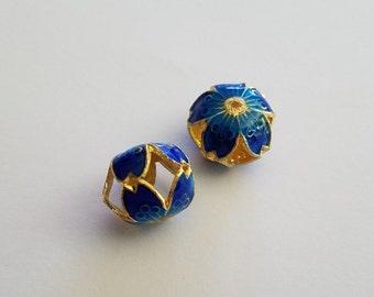 Blue Metal Hollow Beads Cloisonne look