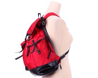 LARGE Backpack 70s Camping Rucksack Red Black Nylon Canvas Leatherette Bottom Hiking Climbing Shoulder Messenger Bag School Sport Gym Bag