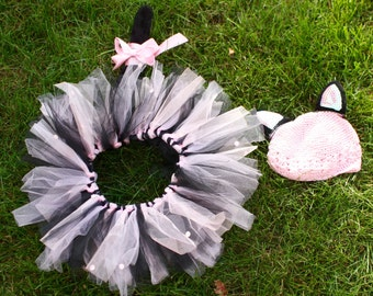 Black and Pink Kitty Costume with tutu, hat, ears and tail.