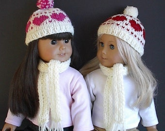 """18 Inch Doll Clothes Knit Hat and Scarf Set Handmade to fit American Girl and other 18"""" Dolls Fair Isle Hearts in Red or Pink Your Choice"""