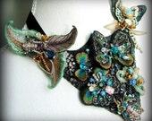 Land of the Butterflies- OOAK Neckpiece - Ready to ship xx