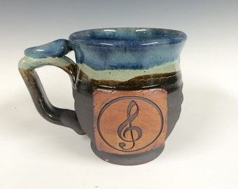 Treble clef mug, music, Handmade personalized pottery, ready to ship