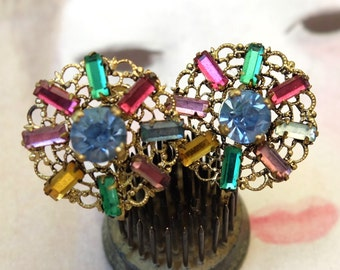 Vintage Earrings Czechoslovakian Multi Stones Screw Back