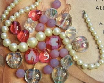 Vintage Glass Bead Kit Valentine Hearts Pink Supply
