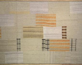 Neutral Stripe Patchwork Rug Wool Kilim Handwoven Turkish 5.5'x8'